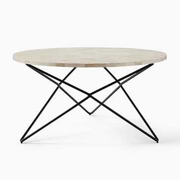 Adeline Kendall Coffee Table, Bone Inlay, Antique Bronze - West Elm