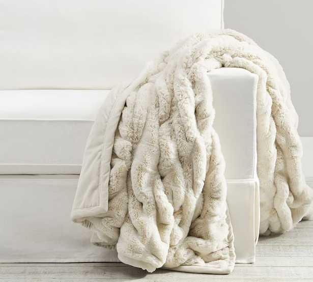 """Faux Fur Ruched Throw, Ivory, 50"""" x 60"""" - Pottery Barn"""
