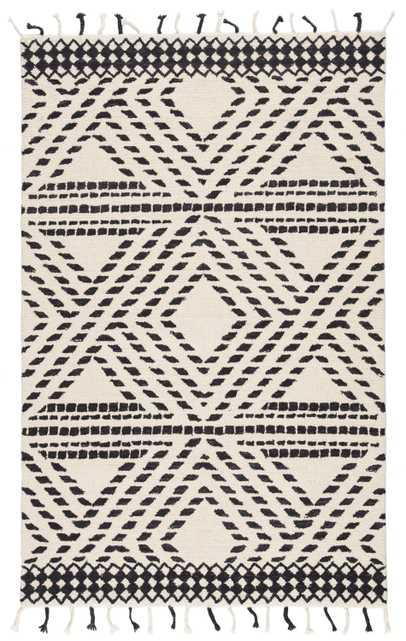 Nikki Chu by Roka Handmade Trellis Ivory/ Black Area Rug (8'X10') - Collective Weavers