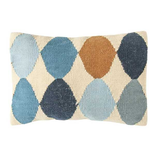 3R Studios Off-White with Blue and Brown Pattern Lumbar 26 in. x 16 in. Throw Pillow - Home Depot