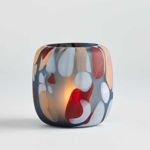 Mont Grey Multicolored Glass Tealight Holder - Crate and Barrel