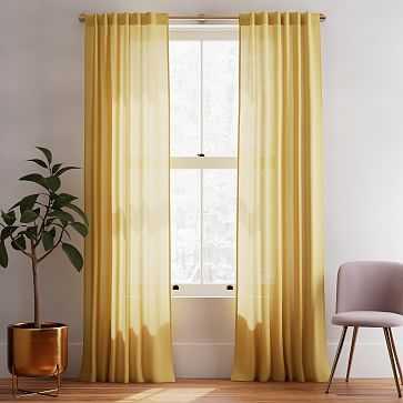 "Sheer Belgian Linen Curtain Horseradish 48""x108 - West Elm"