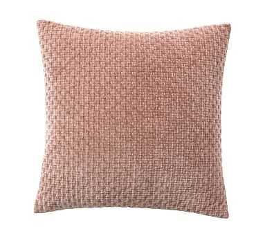 """Stonewashed Cross-Stitched Pillow Cover, 20"""", Blush - Pottery Barn"""