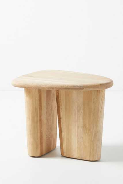 Sculptural Oak Side Table - Anthropologie