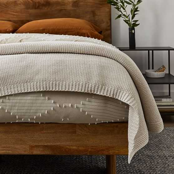 Cotton Knit Bed Blanket, King, Natural Flax - West Elm