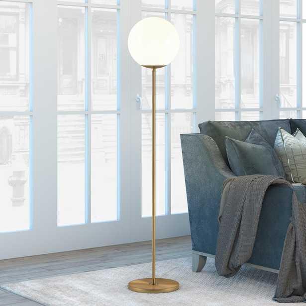 Hudson&Canal Theia 62.63 in Brass Globe & Stem Floor Lamp - Home Depot