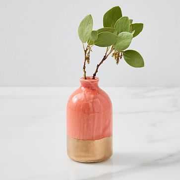 Bud Vase, Coral + Gold, Individual - West Elm