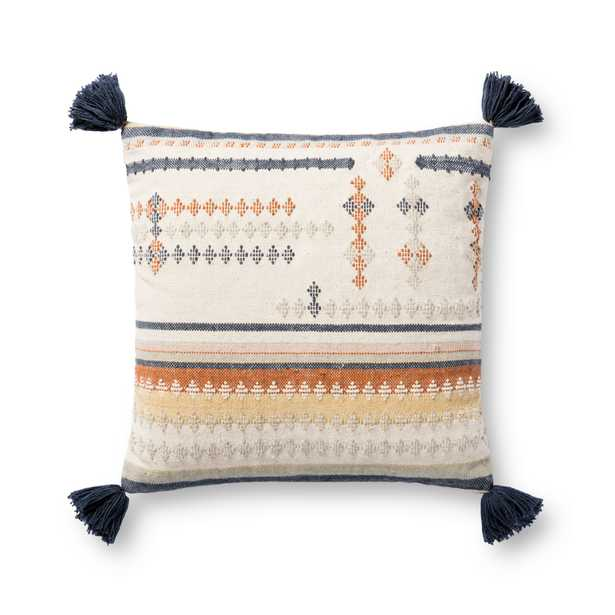 """Handcrafted Throw Pillow with Tassels, 18"""" x 18"""", Orange, Cream & Blue - Magnolia Home by Joana Gaines Crafted by Loloi Rugs"""