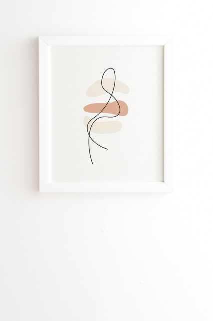 "Framed Wall Art White, Abstract Minimal Line Beige, 8"" x 9.5"" - Wander Print Co."