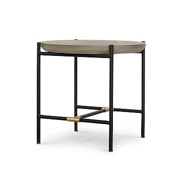 Concrete & Iron Side Table, Natural Brass - West Elm