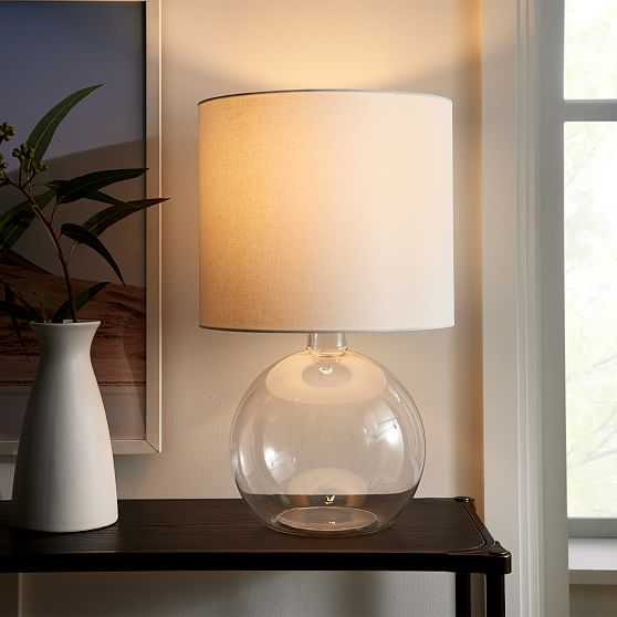 """Foundations Glass Table Lamp, 25"""", Round Clear - West Elm"""