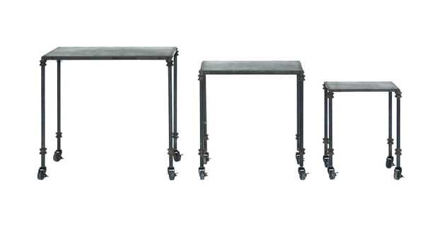 Black Metal Tables on Casters (Set of 3 Sizes) - Nomad Home