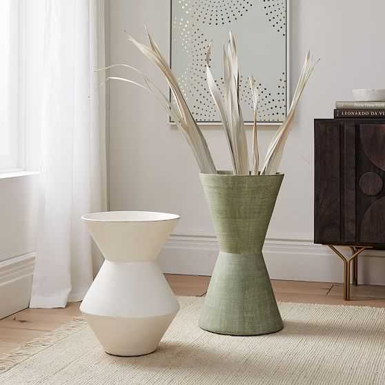 Thom Textured Floor Vase, White, Wide and Large, Set of 2 - West Elm