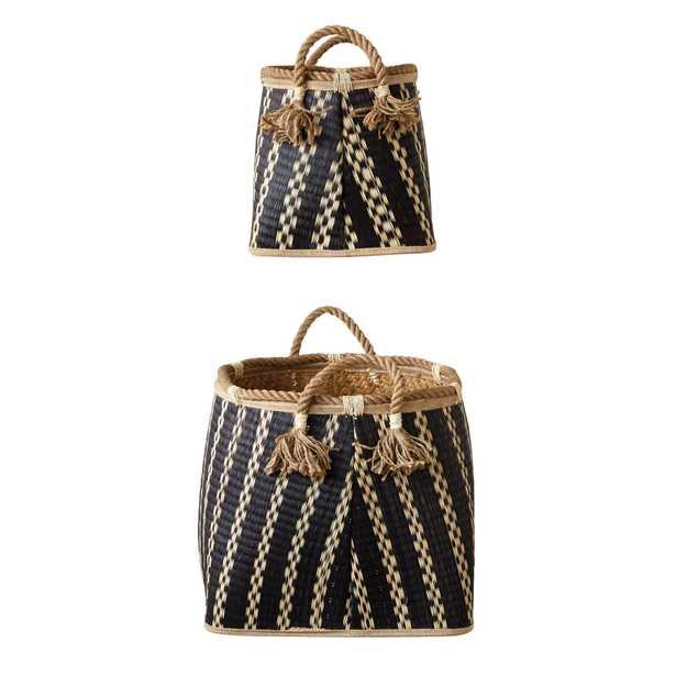 Set of 2 Beige & Black Wicker Baskets with Handles & Tassels - Nomad Home