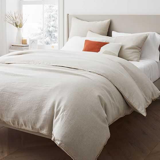European Linen Pom Pom Duvet, King/Cal. King Duvet Cover, Natural Flax - West Elm