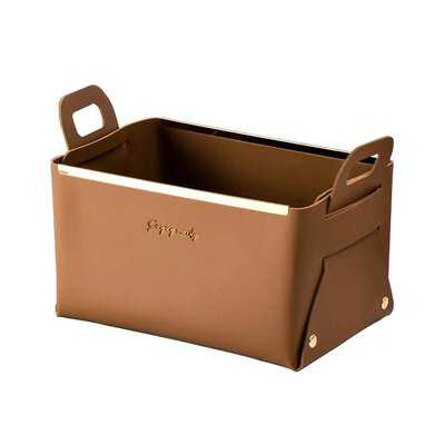 Foldable Leather Storage Bin With Handles,Small Cube Storage Open Storage Box Decorative Storage Basket For Organizing Cosmetics,Toys,Clothes,Food - Wayfair