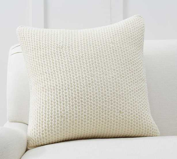 """Thermal Sherpa Back Knit Pillow Cover, 24 x 24"""", Ivory - Pottery Barn"""