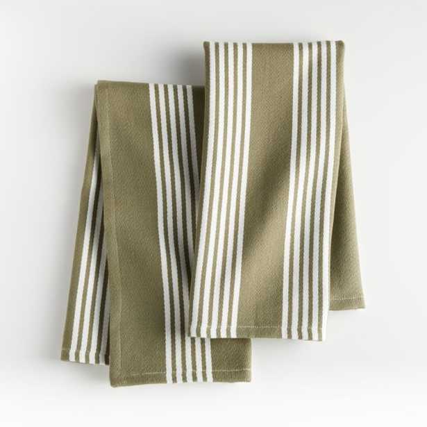 Olive Stripe Dish Towels, Set of 2 - Crate and Barrel