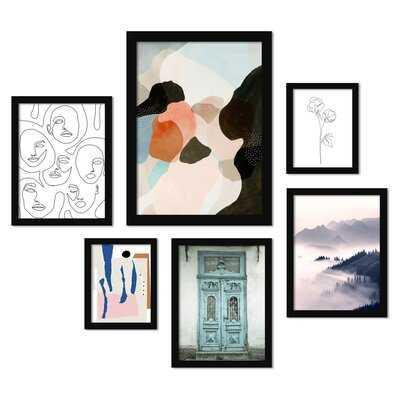 'Contemporary Mixed-Art' - 6 Piece Picture Frame Graphic Art Set - Wayfair