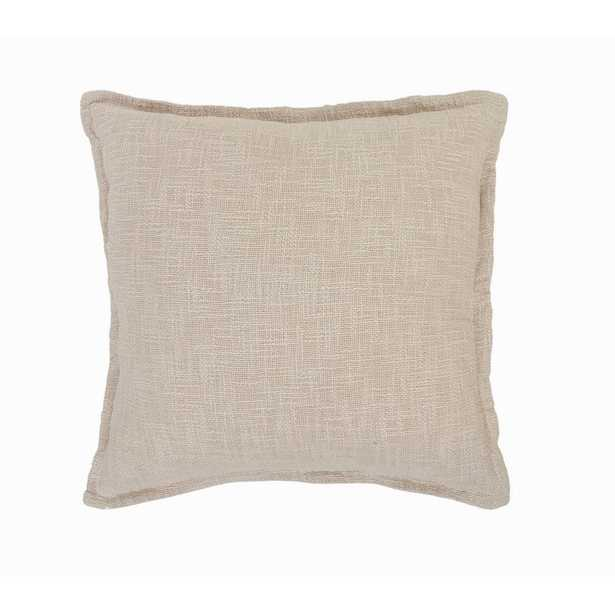 LR Home Ester Beige Birch Solid Soft Poly-fill 20 in. x 20 in. Square Throw Pillow - Home Depot