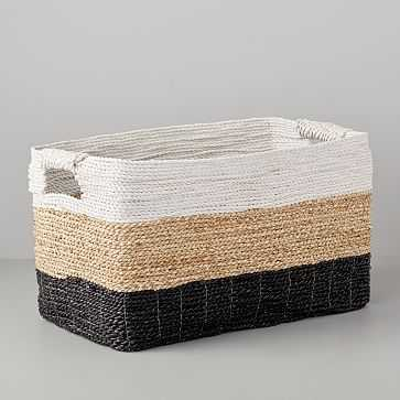 Storage Basket, Console, White/Natural/Peppercorn - West Elm