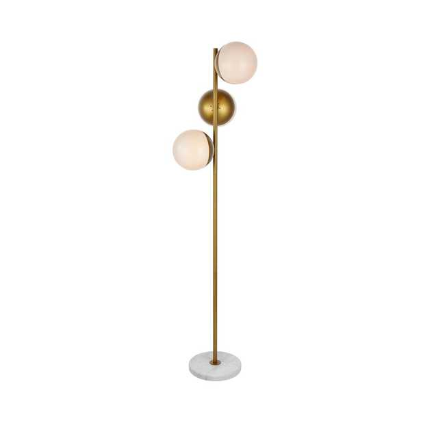 ELEGANT FURNITURE & LIGH Timeless Home 65.5 in. H 3-Light Metal Indoor Floor Lamp in Brass and Frosted White - Home Depot