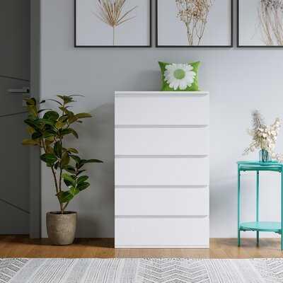 5 Drawer Chest Dresser Cabinet, Floor Storage Organizer Large Capacity For Home Office(White, 39.4H X 23.6W X 15.7D Inch) - Wayfair