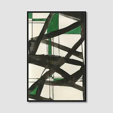 """Framed Print, Abstract Green Graffiti , 36"""" X 48"""" - West Elm"""
