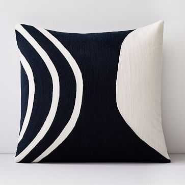 """Crewel Rounded Pillow Cover, Midnight, 18""""x18"""" - West Elm"""