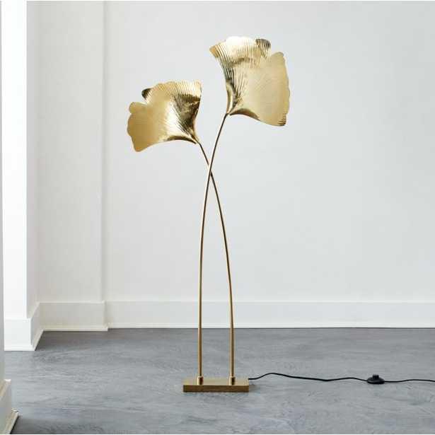 Ginkgo Brass Sculptural Floor Lamp RESTOCK Mid October 2021 - CB2