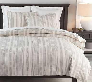 Hawthorn Stripe Cotton Duvet Cover, King/Cal King, Charcoal - Pottery Barn