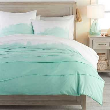 Kelly Slater Ombre Pleated Organic Duvet Cover, Full/Queen, Pool - Pottery Barn Teen