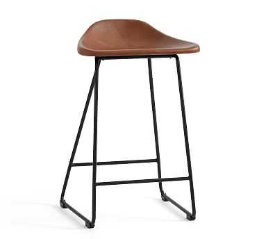 Brenner Leather Counter Stool - Pottery Barn