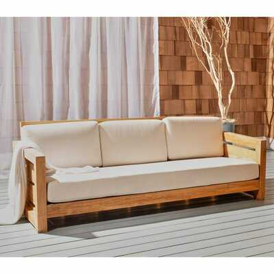 Drumheller Teak Patio Sofa with Cushions (backordered Apr.6) - Wayfair