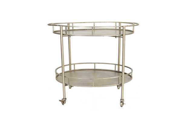 2-Tier Metal Bar Cart with Locking Caster Wheels - Nomad Home