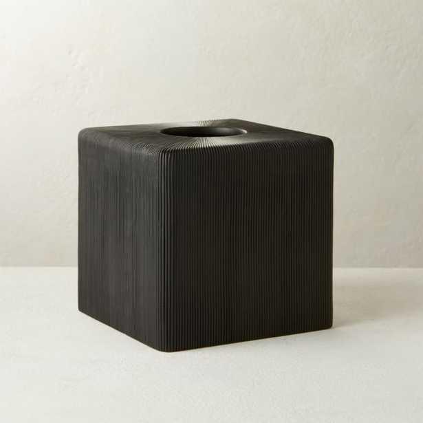 Parello Pleated Black Tissue Box - CB2