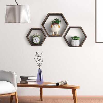 Wood Hexagon Rustic Floating Honeycomb Shelves, 3 Different Sizes - Wayfair