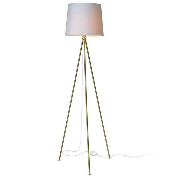 Newhouse Lighting Alexandria Contemporary Tripod Floor Lamp With White Lamp Shade and E26 Light Socket - Free LED Bulb Included - Home Depot