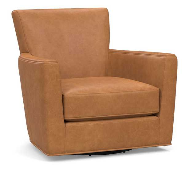 Irving Square Arm Leather Swivel Glider, Polyester Wrapped Cushions, Churchfield Camel - Pottery Barn