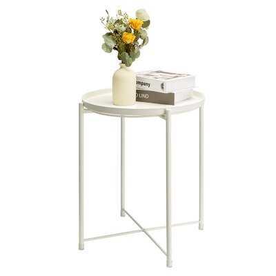 Side Table Round Metal Outdoor Indoor - Wayfair