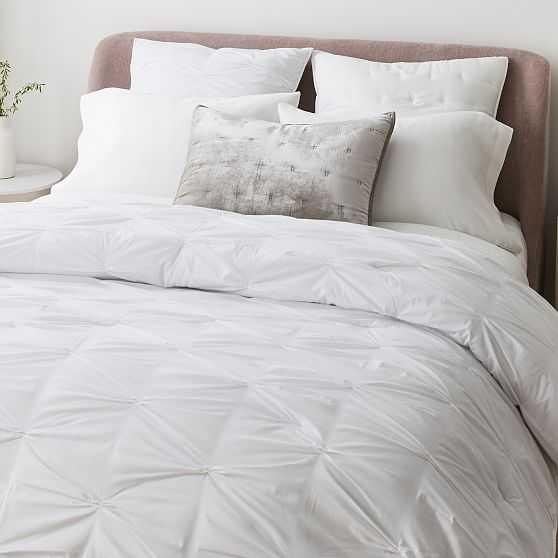 Pintuck Comforter, King Set, White - West Elm