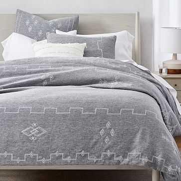 Belgian Linen Ladder Stripe Embroidery Duvet, Full/Queen, Slate Melange + White - West Elm