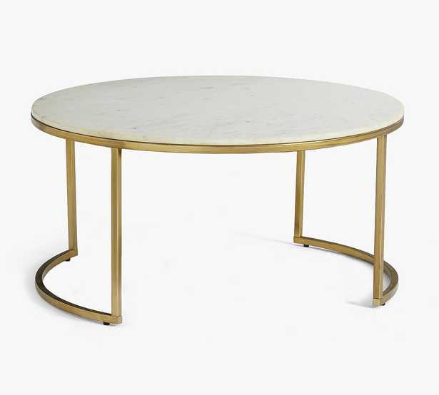 """Delaney Marble Round Coffee Table, White Marble, 38""""L - Pottery Barn"""