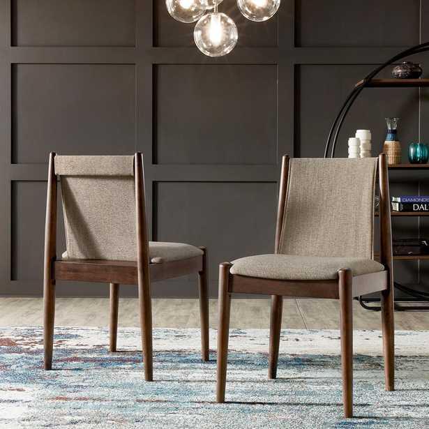 HomeSullivan Walnut Finish Cocoa Fabric Dining Chair (Set Of 2), Brown - Home Depot
