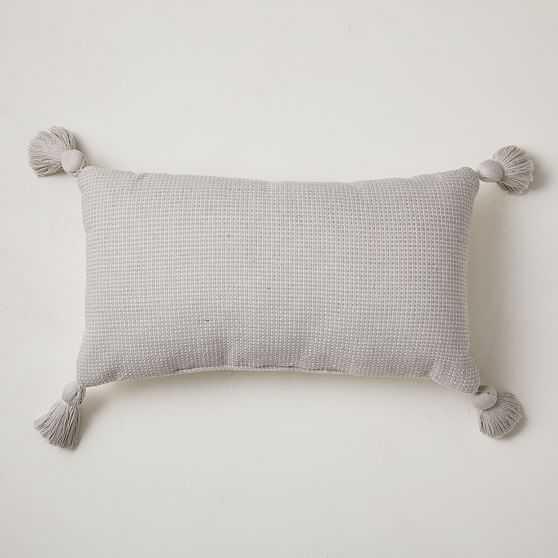 "Textured Solid Tassel Pillow, 12""x21"", Frost Gray - West Elm"