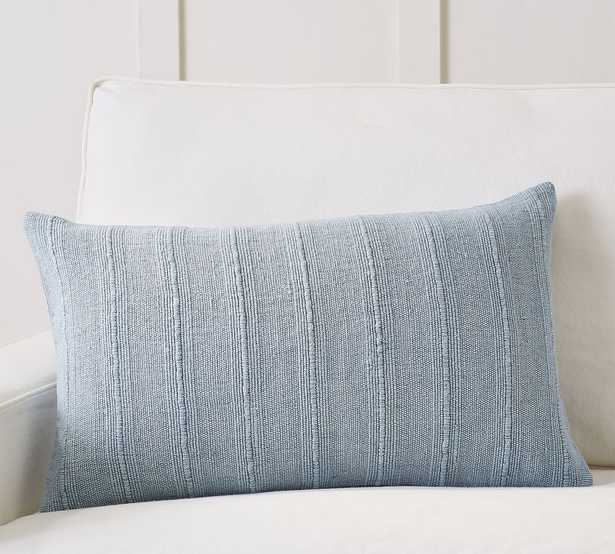 """Relaxed Striped Lumbar Pillow Cover, 16 x 26"""", Chambray - Pottery Barn"""