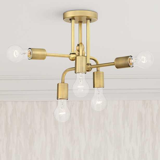 "Possini Euro Kerman 13""W Six-Light Brass Ceiling Light - Lamps Plus"