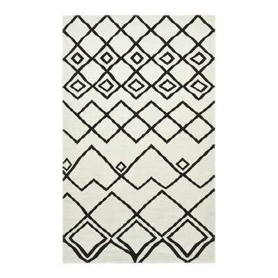 Geometric Hand-Knotted Ivory/Black Area Rug - Wayfair