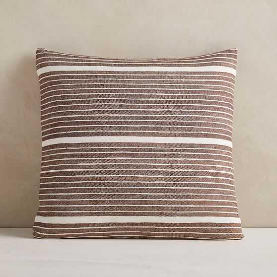 "Silk Mini Stripe Pillow Cover, 20""x20"", Dark Brown - West Elm"