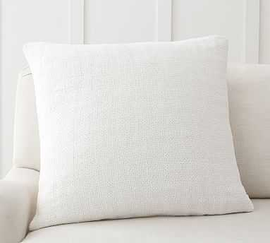 """Faye Textured Linen Pillow Cover, 24 x 24"""", White - Pottery Barn"""